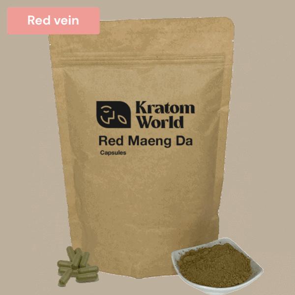 Red Maeng Da kratom capsules