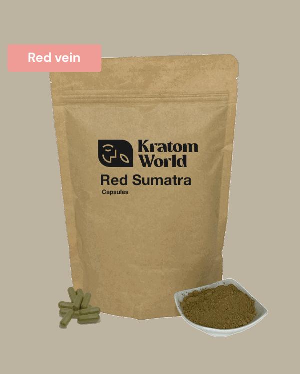 Red Sumatra kratom capsules